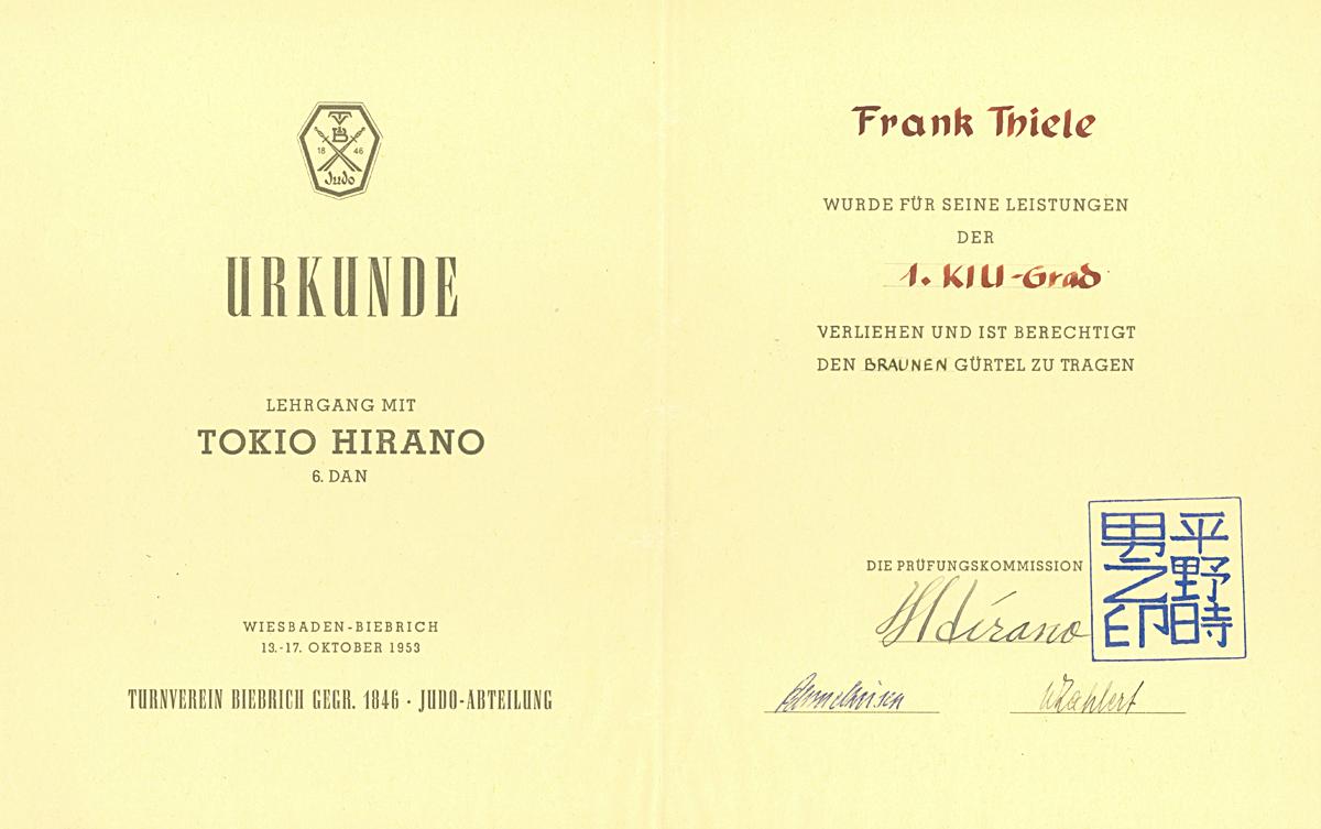 Lehrgang mit Tokio Hirano, 1953