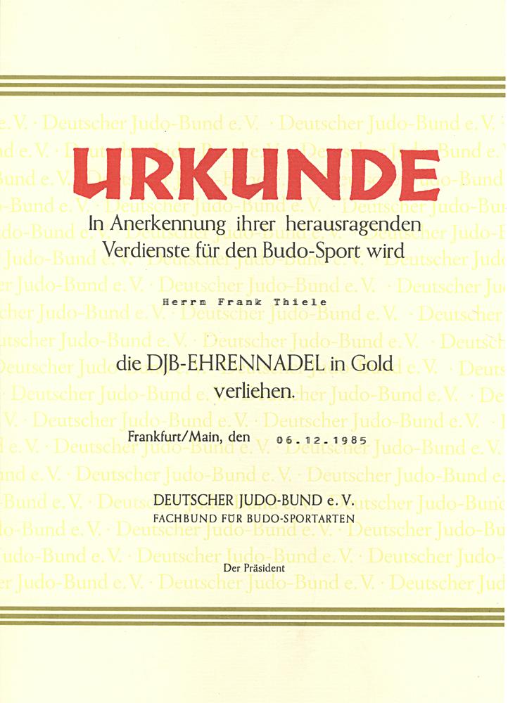 """Urkunde """"Goldene DJB-Ehrennadel"""", 1985"""