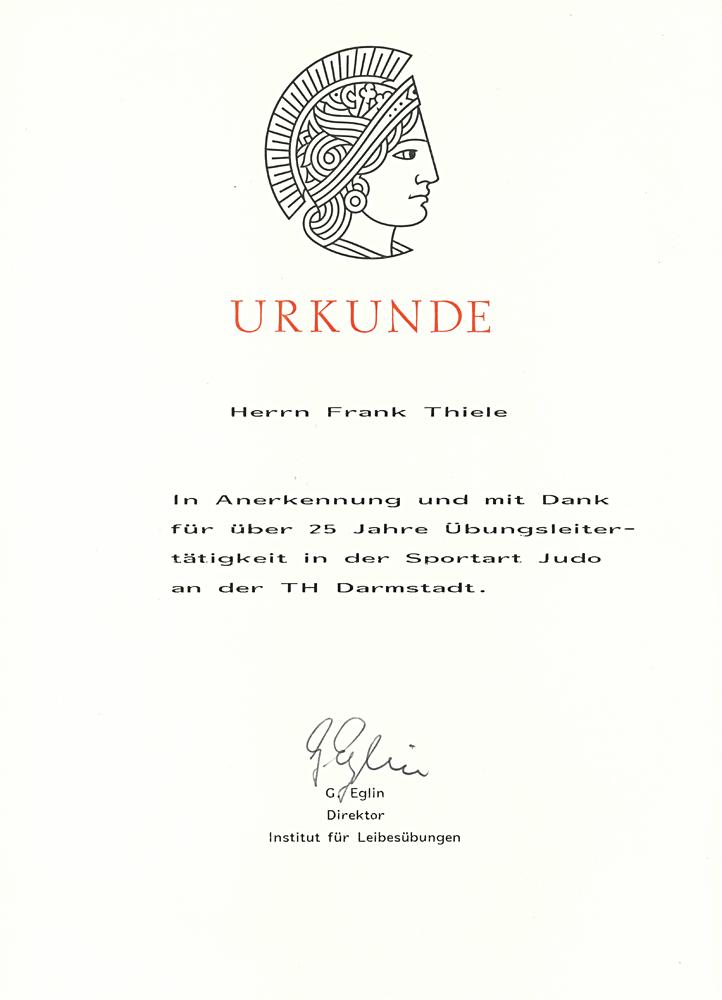 """Urkunde """"25 Jahre Übungsleitertätigkeit"""""""